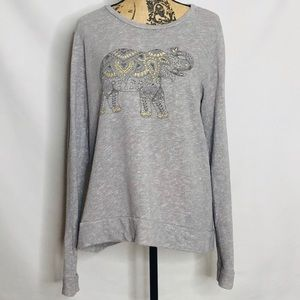 LUCKY BRAND | LUCKY LOTUS grey graphic sweater L